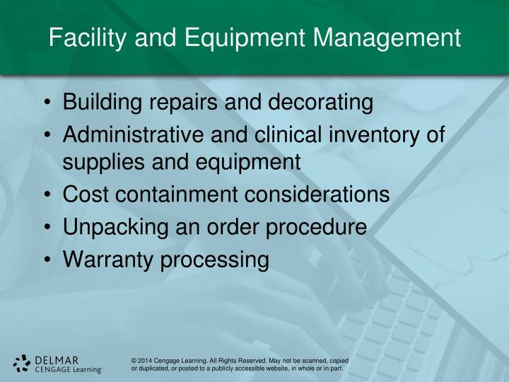 Facility and Equipment Management