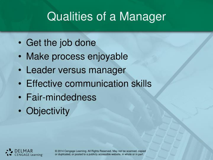 Qualities of a Manager