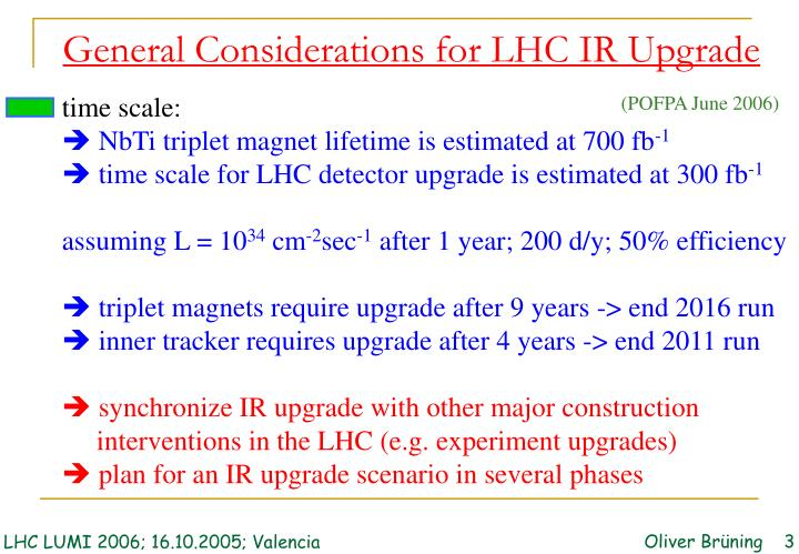 General Considerations for LHC IR Upgrade