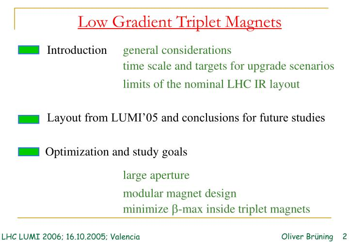 Low Gradient Triplet Magnets
