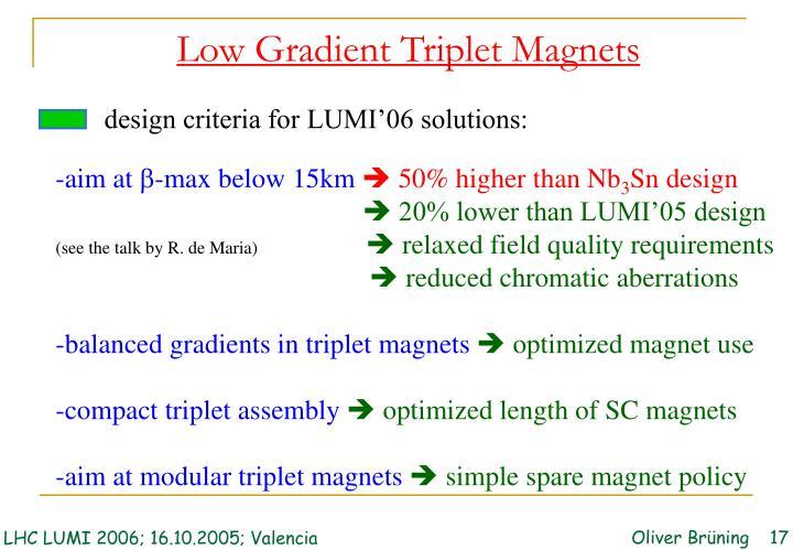 design criteria for LUMI'06 solutions: