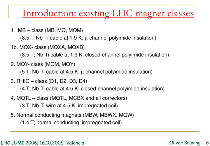 Introduction: existing LHC magnet classes