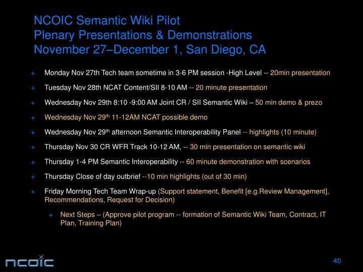 NCOIC Semantic Wiki Pilot