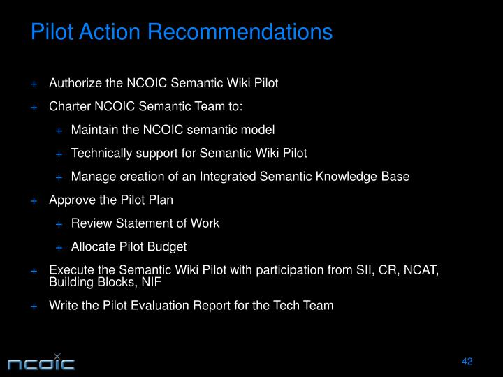 Pilot Action Recommendations