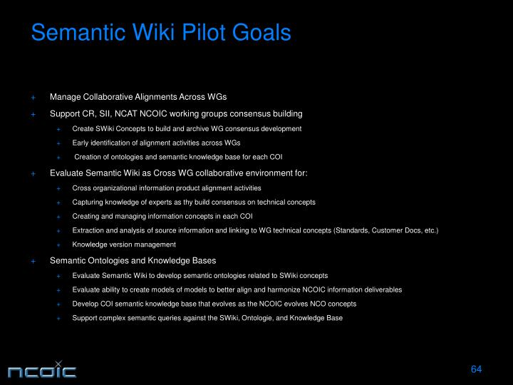 Semantic Wiki Pilot Goals