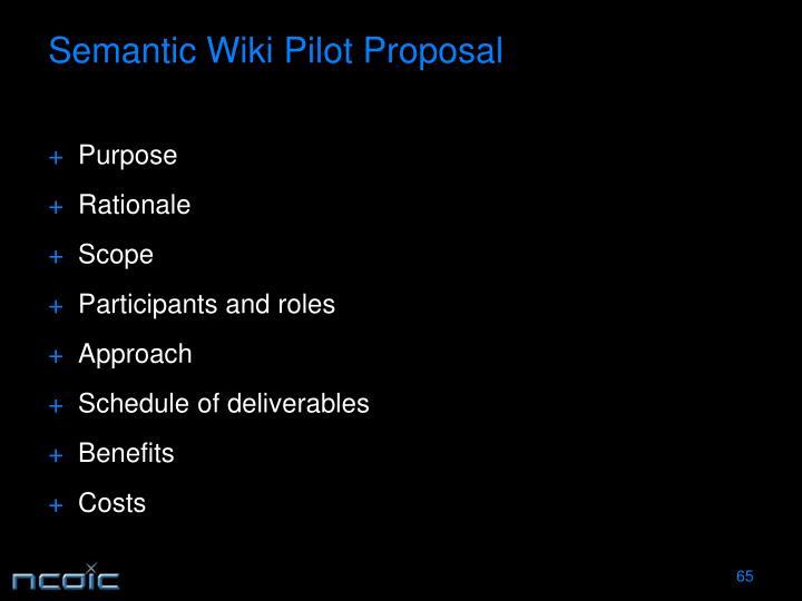 Semantic Wiki Pilot Proposal