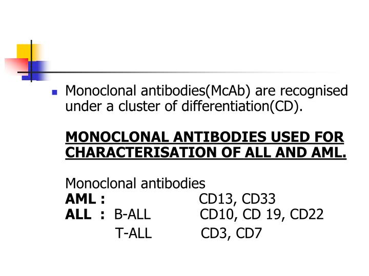 Monoclonal antibodies(McAb) are recognised under a cluster of differentiation(CD).