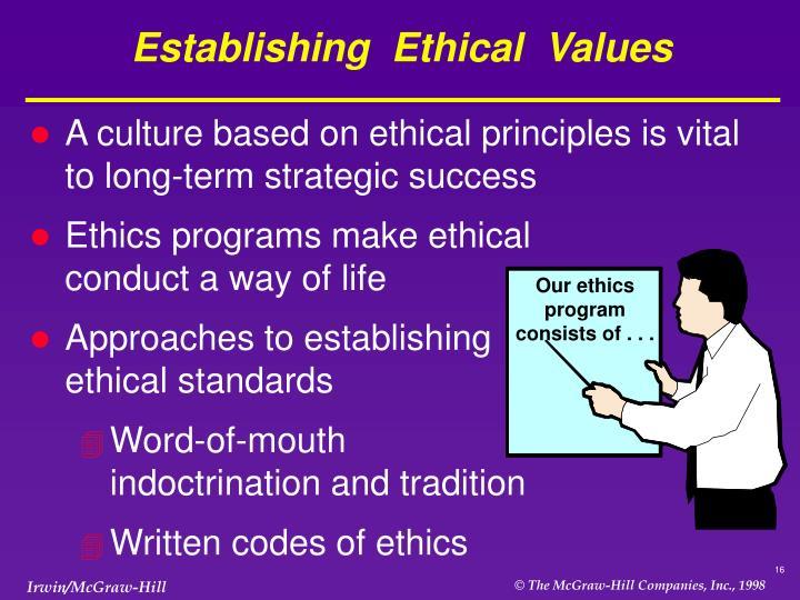Establishing  Ethical  Values