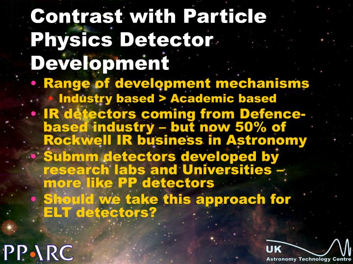 Contrast with Particle Physics Detector Development