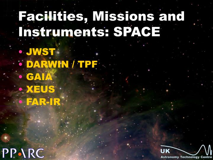 Facilities, Missions and Instruments: SPACE