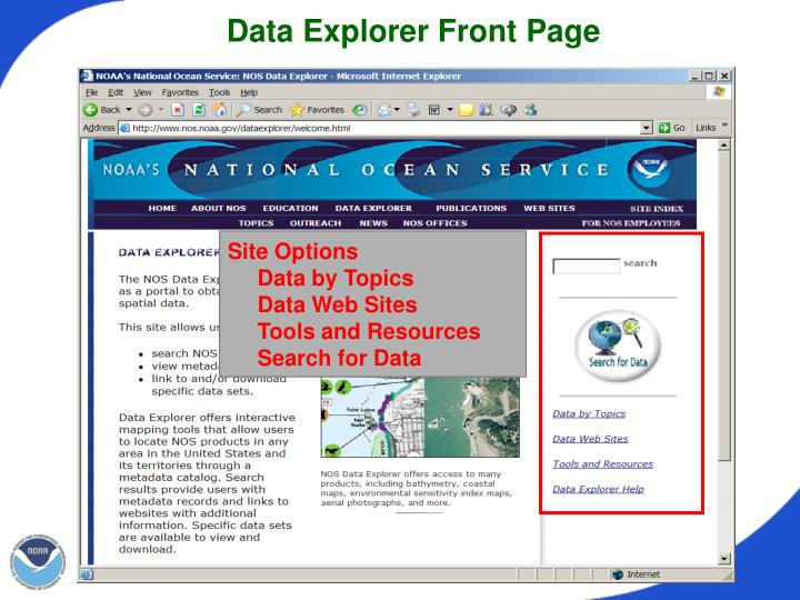 Data Explorer Front Page