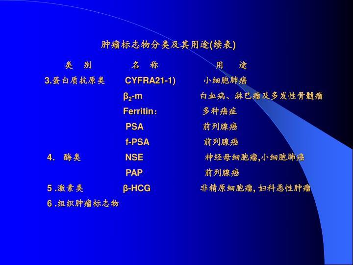 肿瘤标志物分类及其用途