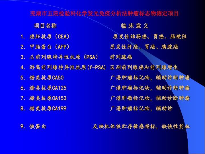 芜湖市五院检验科化学发光免疫分析法肿瘤标志物测定项目