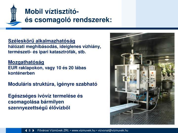 Mobil víztisztító-