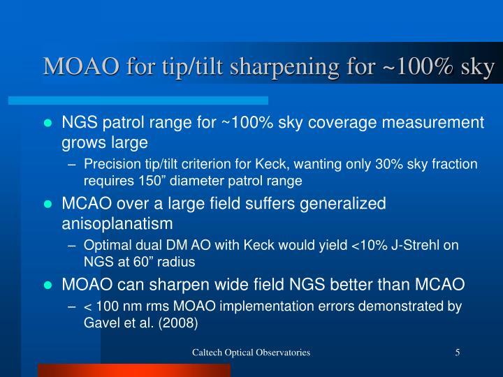 MOAO for tip/tilt sharpening for ~100% sky