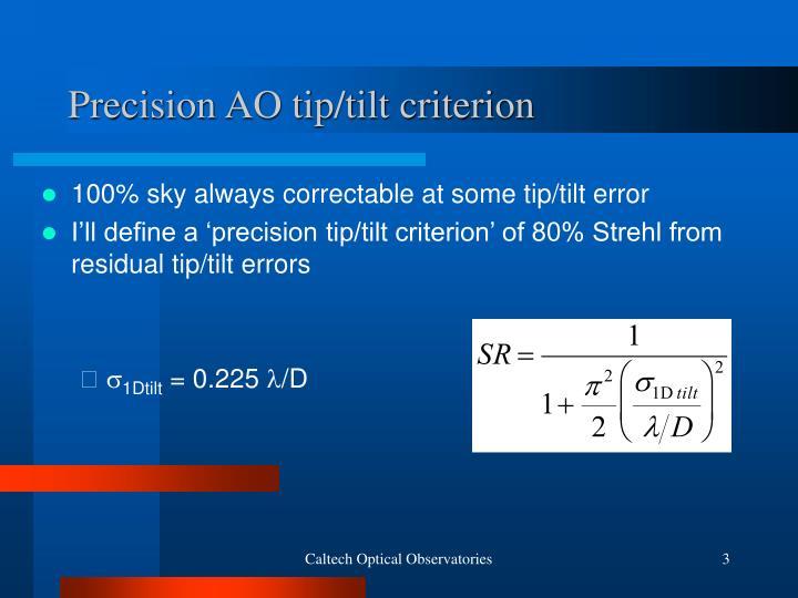 Precision AO tip/tilt criterion