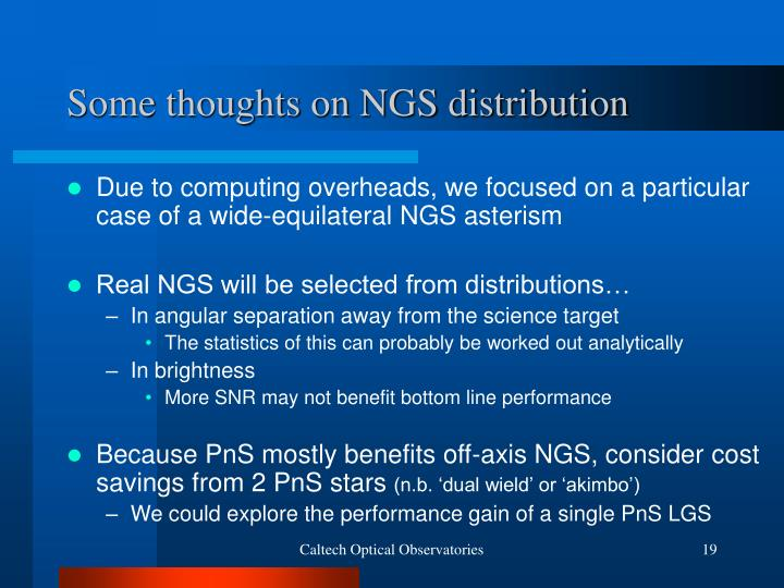 Some thoughts on NGS distribution