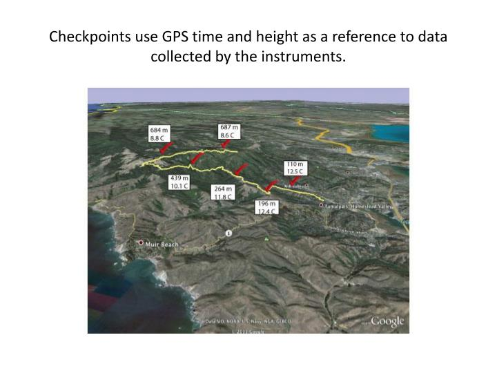 Checkpoints use GPS time and height as a reference to data collected by the instruments.