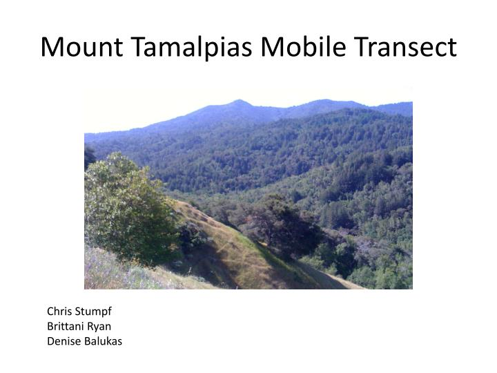 Mount tamalpias mobile transect