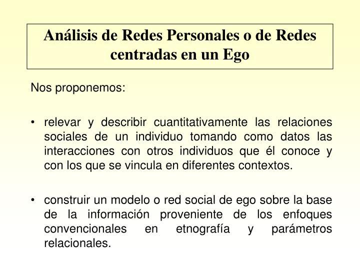Análisis de Redes Personales o de Redes centradas en un Ego