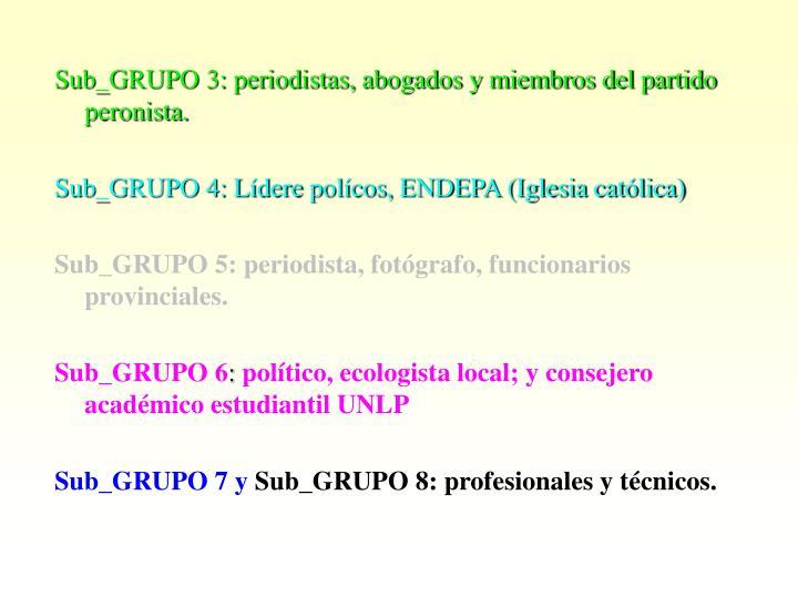 Sub_GRUPO 3: periodistas, abogados y miembros del partido peronista.
