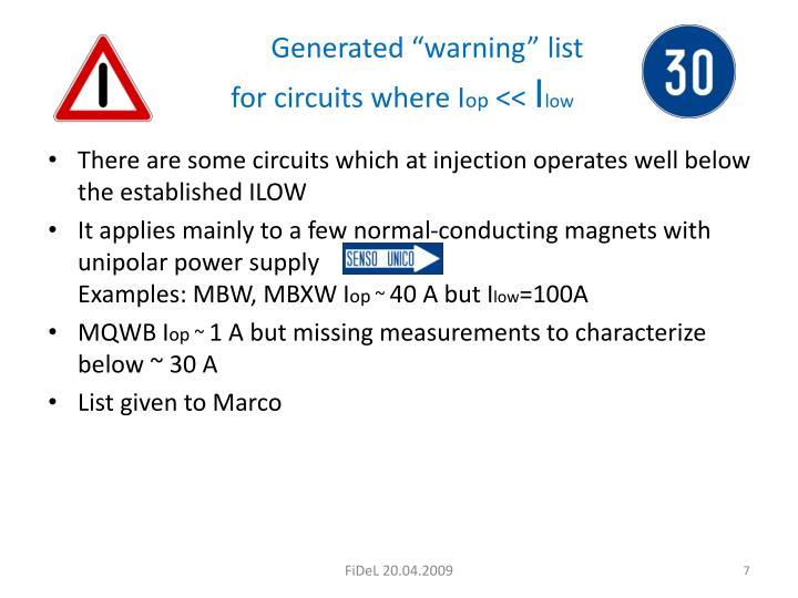 "Generated ""warning"" list"
