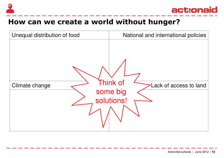 How can we create a world without hunger?