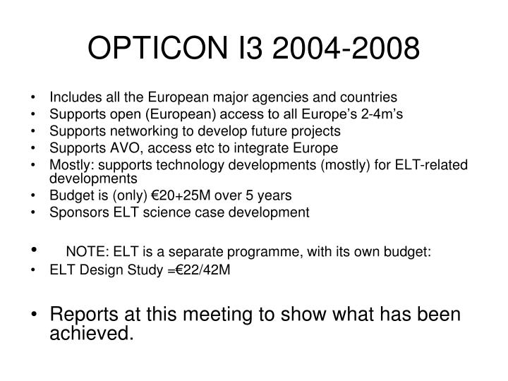 OPTICON I3 2004-2008