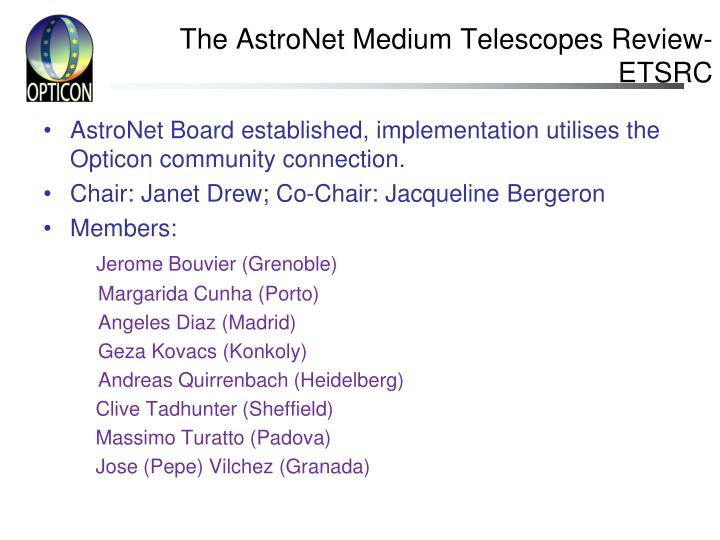 The AstroNet Medium Telescopes Review-ETSRC