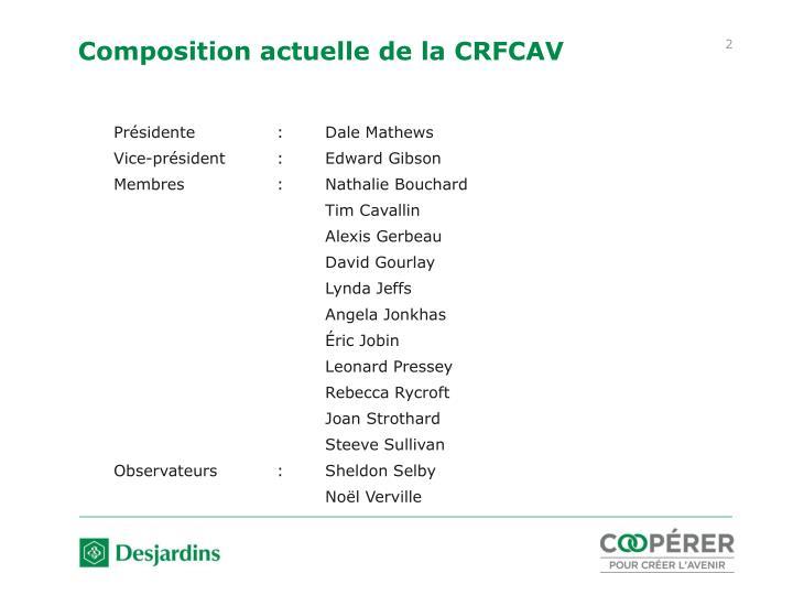Composition actuelle de la CRFCAV