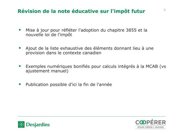 Révision de la note éducative sur l'impôt futur