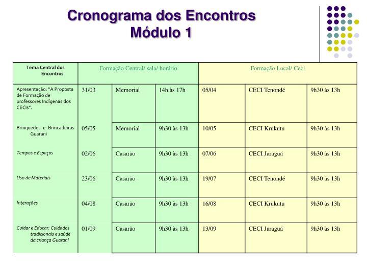 Cronograma dos Encontros