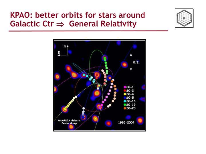 KPAO: better orbits for stars around Galactic Ctr