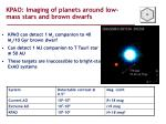 kpao imaging of planets around low mass stars and brown dwarfs
