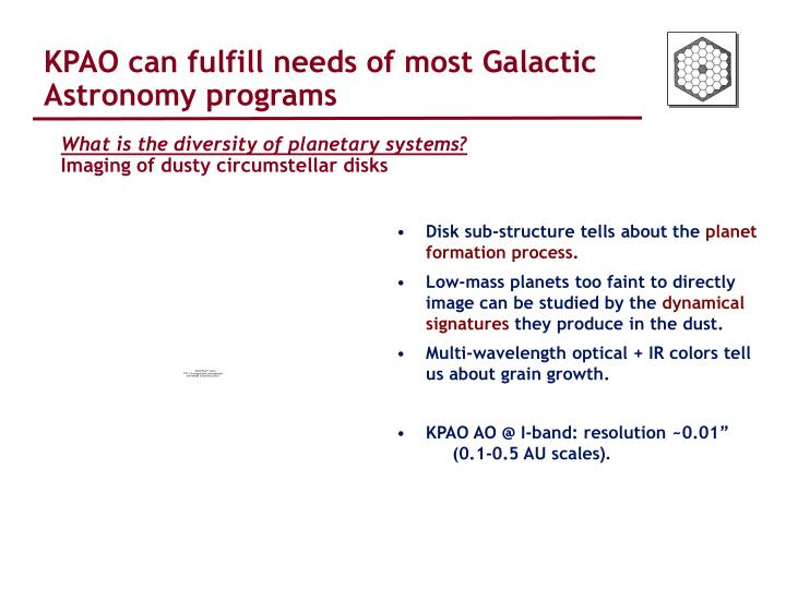 KPAO can fulfill needs of most Galactic Astronomy programs