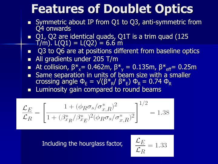 Features of Doublet Optics