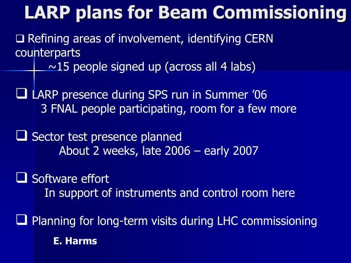 LARP plans for Beam Commissioning