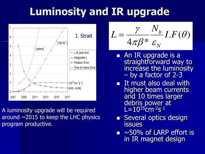Luminosity and IR upgrade