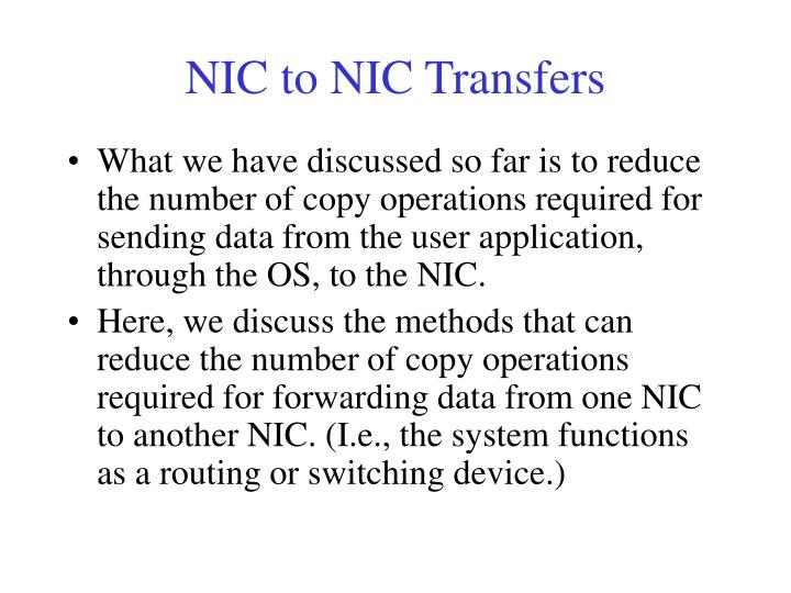 NIC to NIC Transfers