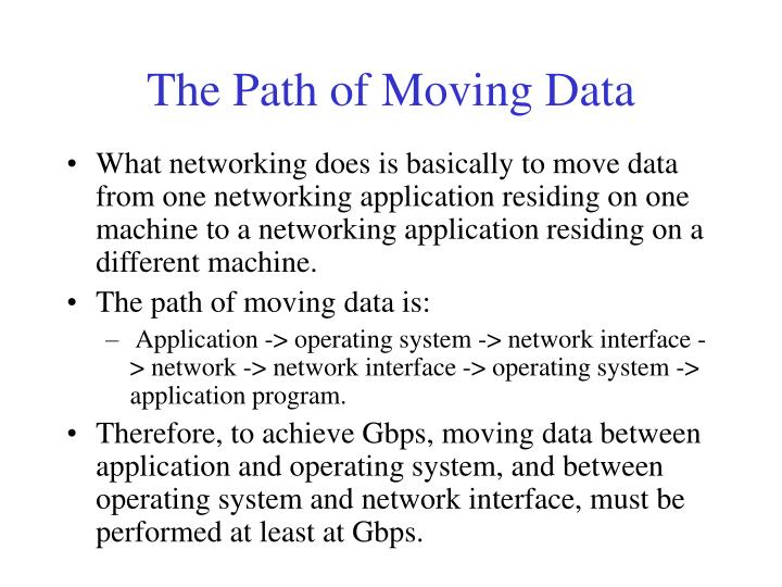 The Path of Moving Data