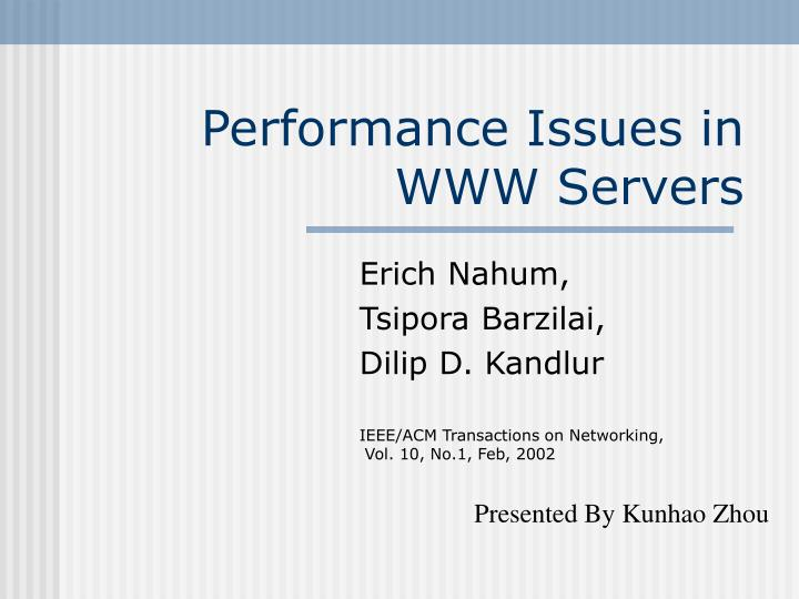 performance issues in www servers