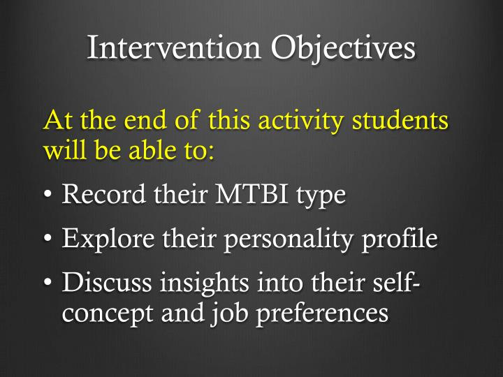 Intervention Objectives