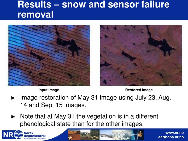 Results – snow and sensor failure removal