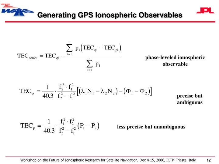 Generating GPS Ionospheric Observables
