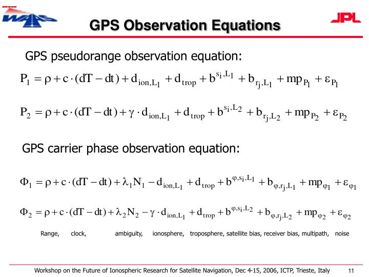 GPS Observation Equations