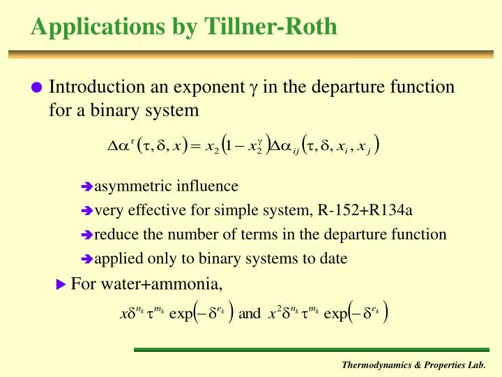 Applications by Tillner-Roth