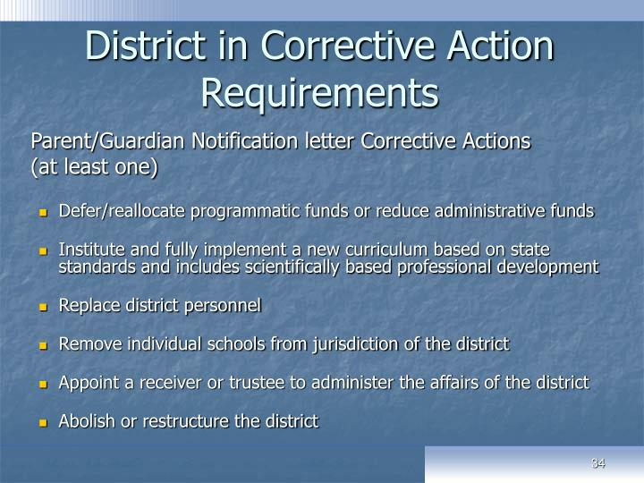 District in Corrective Action Requirements