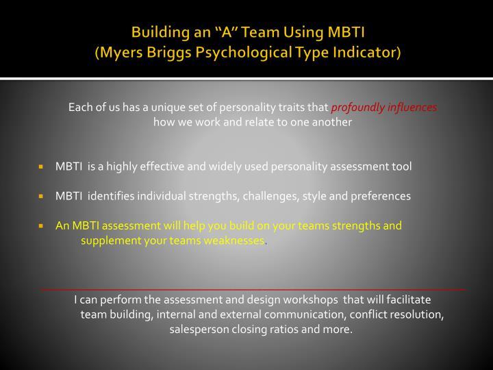 "Building an ""A"" Team Using MBTI"