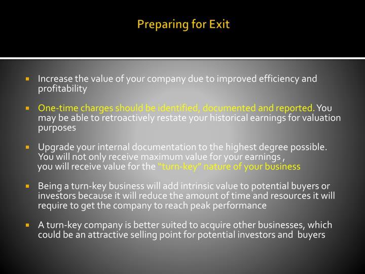 Preparing for Exit