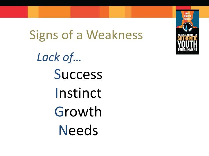 Signs of a Weakness
